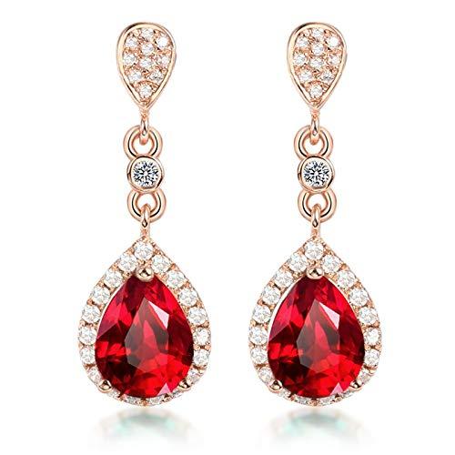 Beydodo Pendientes Mujer Oro Rosa,Pendientes Oro Rosa 18k Gota de Agua con Rubí Rojo 1ct