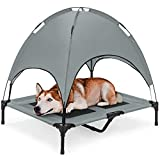 Best Choice Products Outdoor Raised Mesh Cot Cooling Dog Pet Bed for Camping, Beach, 36in, Gray, w/Removable Canopy, Travel Bag