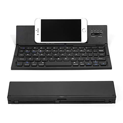 Foldable Bluetooth Keyboard Portable Wireless Keyboard with Stand Holder Size Ultra Slim Folding Keyboard with Portable Pocket Size Compatible iOS Android Windows Tablets Smartphones (Black)