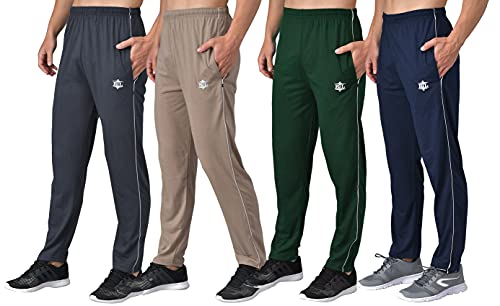 eKools® Plain Trackpants for Men   Plain Basic Trackpants   Two Side Pockets with One Zip Pocket for Phone   Regular Trackpants   Casual Trackpants   100% Cotton   Men's Trackpants (Pack of 4)