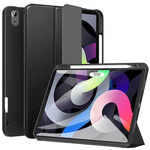 ZtotopCase Cover per ipad Air 4 Generazione (10,9 2020)/iPad PRO 11 Pollici 2018, Custodia smart con Portapenne, Supporto Funzione di Accensione/Spegnimento Automatico, Nero