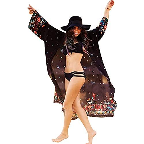 Tyidalin Kimono Cardigan Spiaggia Donna Estivo Parei Leggero Lungo Copricostumi Mare Sexy Tunica Copribikini Floreale, Colore 5