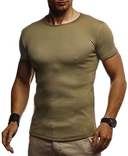 Leif Nelson Herren Sommer T-Shirt Rundhals Ausschnitt Slim Fit Baumwolle-Anteil Cooles Basic Männer T-Shirt Crew Neck Jungen Kurzarmshirt O-Neck Sweater Shirt Kurzarm LN8318 Khaki Large