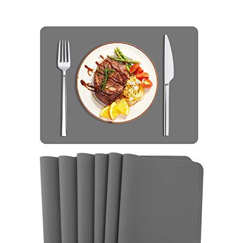POOPHUNS Platzset, 6er Sets Tischsets Abwaschbar, Hitzebeständig und rutschfest Platz-Matten, Silikon Quadrat Tischset für Küche Speisetisch, Wasserdicht, Abgrifffeste, 42x30cm, Dunkel Grau