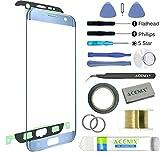 ACENIX Kit d'ouverture de remplacement pour écran de verre avant extérieur pour Samsung Galaxy S7 Edge Blue Mist + ruban adhésif 2mm et outils d'ouverture