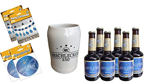Original Sepp Bumsinger`s Partyset inkl. Arschlecken 350 Helles Bier, Bierkrug, Bierdeckel & Girlande
