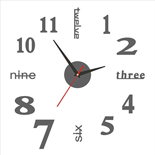 lefeindgdi Reloj adhesivo de pared, moderno silencio 3D, espejo sin marco, números romanos funciona con pilas, reloj de decoración para el hogar, oficina, sala de estar, dormitorios