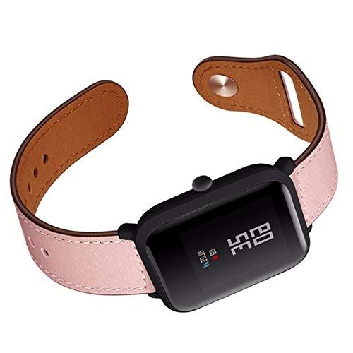 Fhony Correa de Cuero Compatible with Apple Watch 38mm 40mm 42mm 44mm Diseño de Cuero Genuino Correa de Repuesto para Mujeres & Hombres for Iwatch Series Se/6/5/4/3/2/1,Rosado,42/44mm