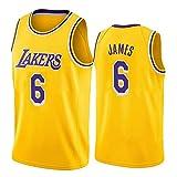 TPPHD Camisetas para Hombres, NBA Los Angeles Lakers # 6 Lebron James Classic 2021New Style Basketball Shirt, cómodo Ligero Transpirable Unisex Uniforme Uniforme,Beige,S