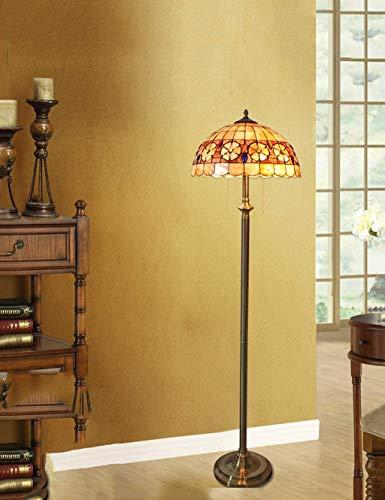 MISLD 16-Zoll-Tiffany-stehlampe, Wohnzimmer-stehlampe, Schlafzimmer-arbeitslampe, Muschellampe Im Mediterranen