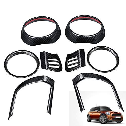 TRJGDCP Auto parts 8 unids cubierta de ventilación de aire para BMW para MINI para Cooper F55 F56 F57 fibra de carbono interior molduras auto salida de aire recortar pegatinas