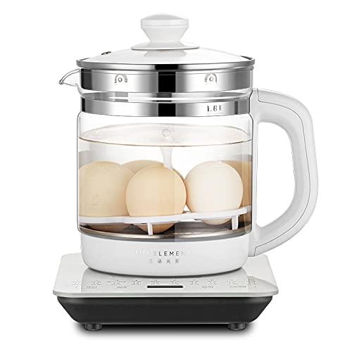Combinación de cafetera Life Element eléctrico de vidrio para la salud, tetera de acero inoxidable multifuncional con termómetro, 1,8 L, 800 W, 220 V cafetera (color: blanco)
