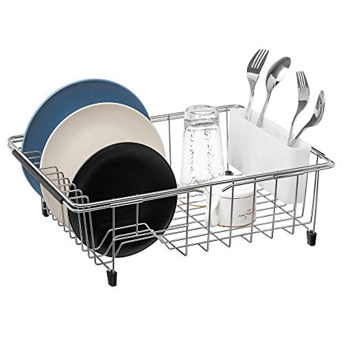 SANNO Deep & Large Dish Rack Over Sink Dish drying Rack in Sink or On Counter,Adjustable Arms Dish Drainer Rustproof Stainless Steel with White Utensil Silverware Storage Holders