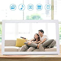 フォトフレーム、電子デジタル額縁18インチ16:9 1366 X 768 LED電子時計(ラップトップ用)デスクトップ(家族や友人用)タブレット用(白い, USプラグ100-240V, 翻訳)