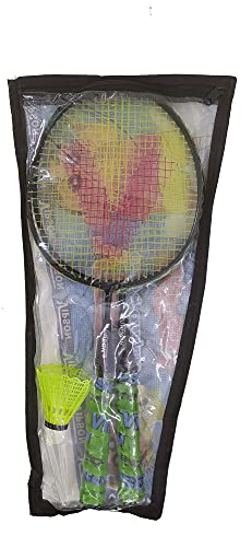 Bobby Sports® Vipson Kids Double Rod Badminton Racquets Set of 2(1 Pair) for Kids 3 to 8 Years. Yellow Color