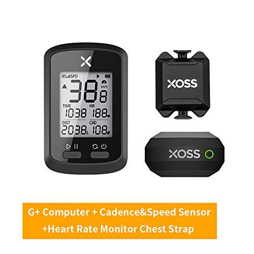 XOSS Ciclocomputador G+ GPS inalámbrico Velocímetro Impermeable Bicicleta de Carretera MTB Bicicleta Bluetooth Ant + con computadoras de Ciclismo de cadencia (Combo 7)