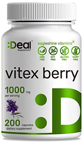 Deal Supplement Vitex Berry, Chasteberry, 1000mg, 200 Capsules - Balance Hormone for Women & Support PMS Symptoms - 100 Days Supply