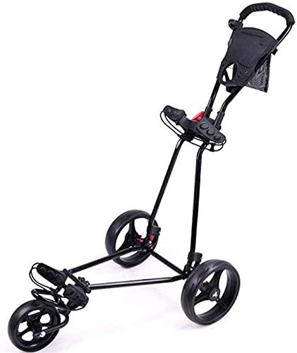 Carro de golf plegable con 3 ruedas, un segundo para abrir y cerrar carrito de golf de empuje negro, marco de aleación de aluminio para golf (color negro)