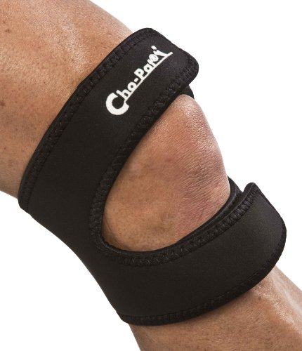 Cho-Pat Dual Action Knee Strap, Provides Full Mobility and Pain Relief for Arthritic, Weakened Knees, Tendonitis, Osgood Schlatter's, Meniscus Tears, and Chondromalacia, Black, Medium