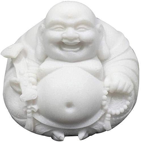 L.TSN Estatuas de Buda de Piedra de mármol Blanco, Escultura de Buda riendo para el hogar y la Oficina Decoración de Feng Shui Chino Buena Suerte Atraer Riqueza Regalos de felicitación