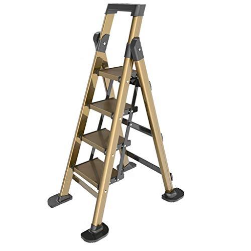 QFF Herramienta Cuatro Escalera plegable, de aleación de aluminio escaleras de tijera Escaleras de tijera de una cara/con Tabla de herramientas/Aumento antideslizante Foot Cubierta doblez