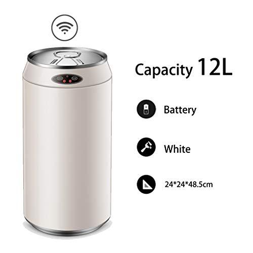 Smart sensor prullenbak Creative Cola tank verschijning Household woonkamer vuilnisbak papier mand met deksel (Color : White-battery, Size : 12L)