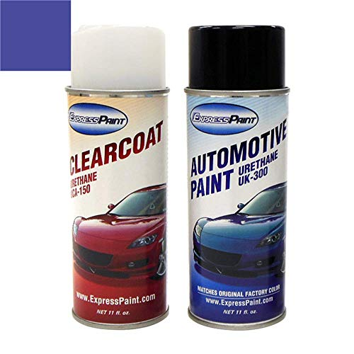 ExpressPaint Aerosol - Automotive Touch-up Paint for Ford F-Series, F150, F250, F350 - Blue Flame Metallic Clearcoat SZ - Color + Clearcoat Package