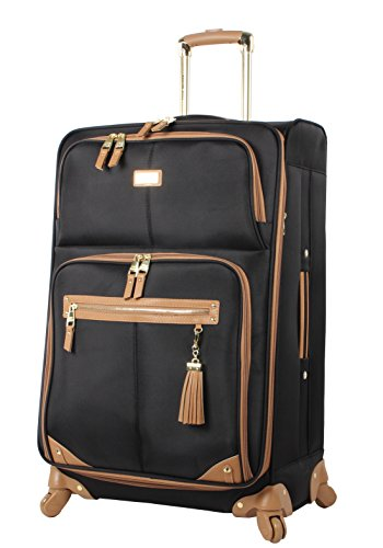 Steve Madden Designer Luggage - Checked Large 28 Inch Softside Suitcase - Expandable for Extra Packing Capacity - Lightweight Bag with Rolling Spinner Wheels (Harlo Black)