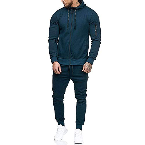 Men's Jogging Tracksuit Sportswear Casual Joggers Set Zipper Hoodie Sweatshirt+ Running Sweatpants by-Leegor Navy