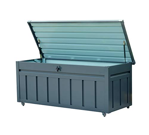 Tuinopbergbox van metaal, antraciet, 400 liter, incl. sleutels, droge en veilige opslag van kussens, tuingereedschap en speelgoed, stabiele metalen box voor huis, tuin en balkon