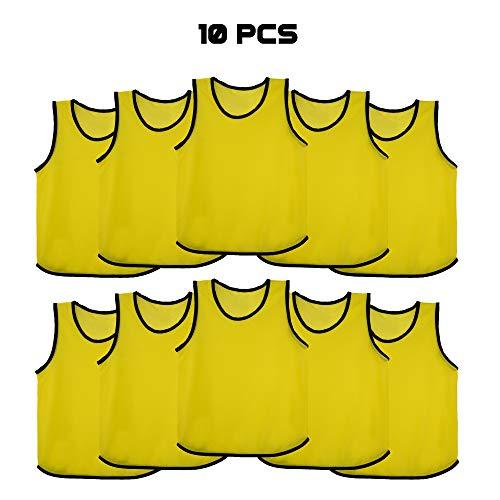 Ronex Sports Petos de Entrenamiento para niños, jóvenes y Adultos (Petos Deportivos, Petos de Futbol) - Pack de 10 Unidades Amarillo, Niños (5-10 años)