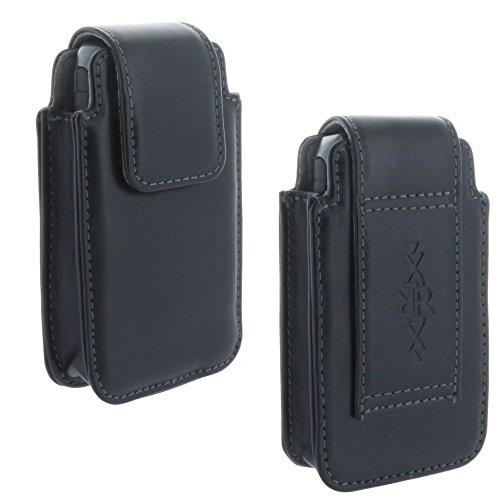 XiRRiX Leder Handy Gürteltasche für Seniorenhandy - Tasche kompatibel mit Doro 2414 5030 / artfone cs182 / Emporia Pure V25 Euphoria V50 / C151 / Nokia 105 2017/110 2019 - schwarz