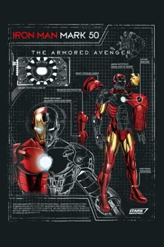 Iron Man Armor Plated Suit Blue Print Schematic: Notebook Planner - 6x9 inch Daily Planner Journal, To Do List Notebook, Daily Organizer, 114 Pages