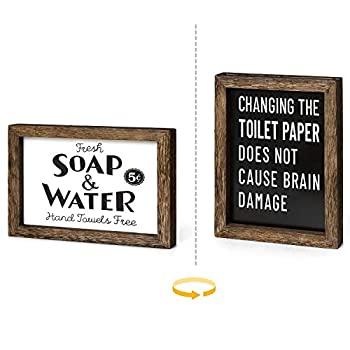 Dahey 1 Pack Farmhouse Bathroom Wall Decor 2 Sides Funny Wood Sign with Saying Toilet Paper Sign,Home Art Framed for Vintage Bath Laundry Room