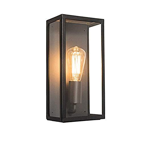 GaLon wandlamp voor buiten, modern, rechthoekig, zwart met glas - Rotterdam 1 / verlichting voor buiten/roestvrij staal, rechthoekig, geschikt E27