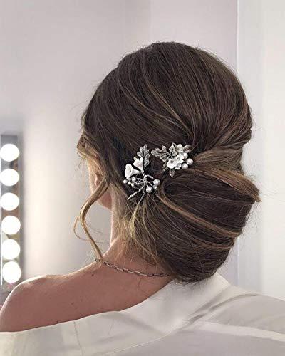Edary Horquillas para el pelo de novia con flores plateadas