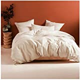 Eikei Washed Cotton Chambray Duvet Cover Solid Color Casual Modern Style Bedding Set Relaxed Soft Feel Natural Wrinkled Look (Queen, Peach Sorbet)