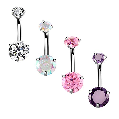 YHMM 14G Surgical Steel Belly Button Rings Round Cubic Zirconia Navel Barbell Stud Body Piercing (4 Pcs Clear+Pink+Colorful+Purple)