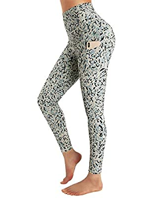 STYLEWORD Womens Yoga Pants with Pockets High Waist Workout Leggings Running Pants(Apricot Leopard-084P,S)