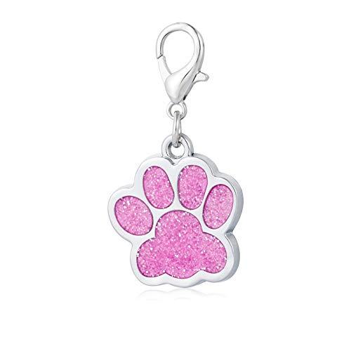 7Morning Hundepfoten Hundemarke Personalisiert Legierung Tiermarke Katzenmarke mit Gravur,Rosa