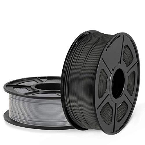 SUNLU Filamento ABS 1.75mm 2kg Impresora 3D Filamento, Precisión Dimensional +/- 0.02 mm, ABS Negro + gris