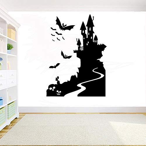 xingbu Vinyl Art Stickerbaby kamer muur stickers vogel en konijn halloween heks kasteel tovenaar vleermuis glas deur S Thuis 78X57Cm