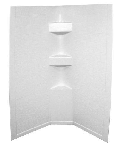 Lippert 306204 Better Bath 34' x 34' x 64' Neo Angle RV Shower Surround White Slate