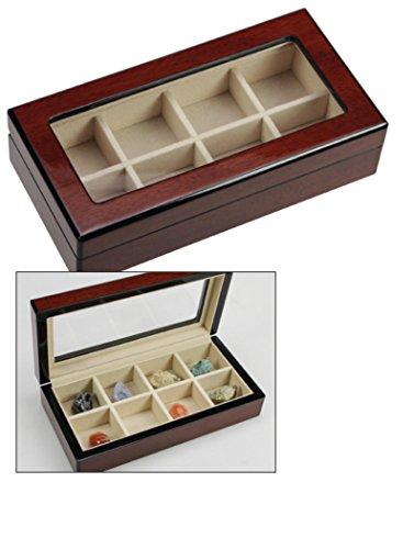 SAFE 3023 M Design Echtholz Sammelvitrine Arvika - Hochglänzend in Klavierlack-Optik Cherry - Sammelschatulle - Sammelkassette - Vitrine Kasten Box 8 Fächer mit glasklarem Sichtfenster