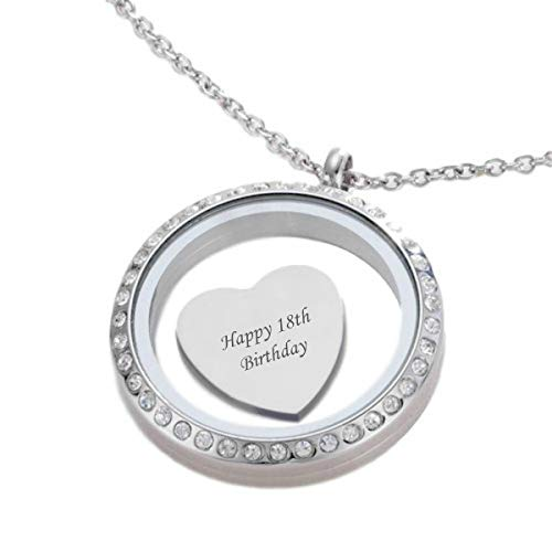 Charming Engraving 18th Birthday Necklace, Ideal 18th Birthday Gifts for Girls & Women, Glass Locket...