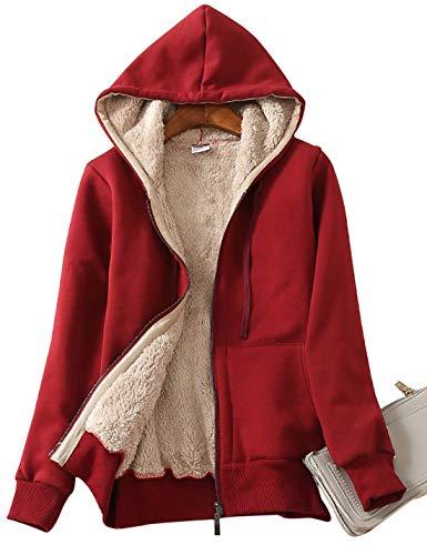 ORANDESIGNE Damen Sweatjacke mit Kapuze Kuschelig Warmer Pullover Frauen Innenfutter Kapuzenjacken Herbst Winter Reißverschluss Kapuzenpullover Outwear Hoodie (36, Rot)