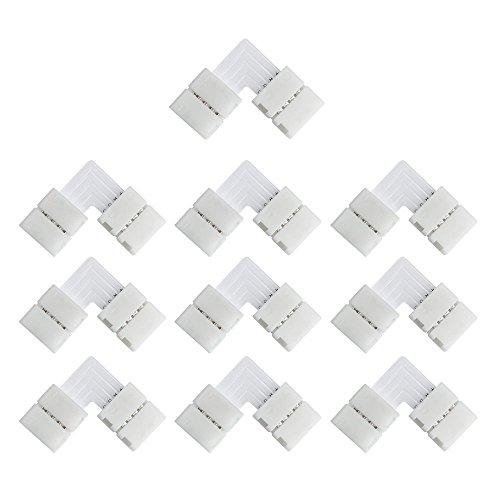 VIPMOON 10 Pack 10mm 4pin L-Shape 5050 RGB LED Strip Connettore ad angolo ad angolo retto per luci a LED 5050 RGB