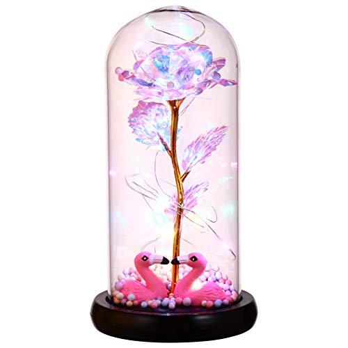 OSALADI Rosa de flor preservada em redoma de vidro em base de madeira com luz de LED Dia dos Namorados festa de casamento sem bateria