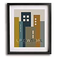 Uptown Girl by Billy Joel inspired song lyric wall art print, mid-century modern music poster