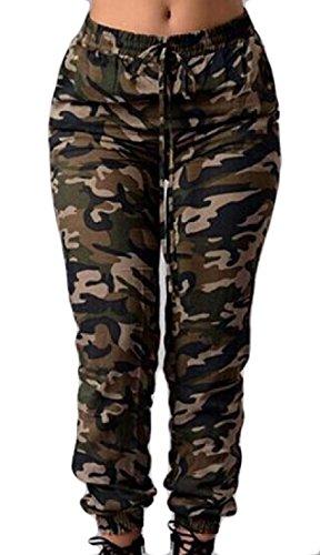 DressUWomen Damen camo mit taschen und elastischen taillen-beiläufigen langen hosen XS Grün